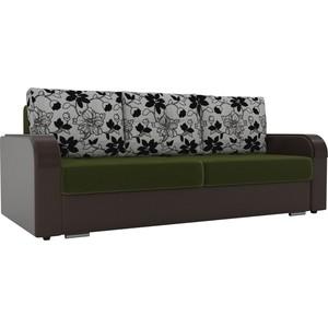 Прямой диван Лига Диванов Мейсон микровельвет зеленый экокожа коричневый подушки рогожка на флоке