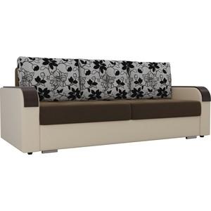 Прямой диван Лига Диванов Мейсон микровельвет коричневый экокожа бежевый подушки рогожка на флоке фото