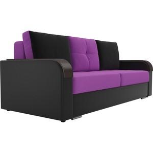 Прямой диван Лига Диванов Мейсон микровельвет фиолетовый экокожа черный фото