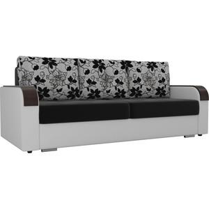 Прямой диван Лига Диванов Мейсон микровельвет черный экокожа белый подушки рогожка на флоке