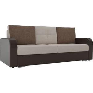 Прямой диван Лига Диванов Мейсон рогожка бежевый экокожа коричневый