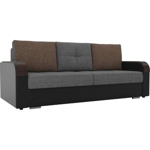 Прямой диван Лига Диванов Мейсон рогожка серый экокожа черный
