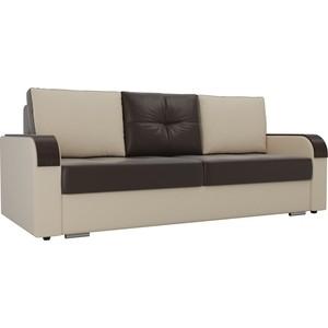 Прямой диван Лига Диванов Мейсон экокожа коричневый бежевый фото
