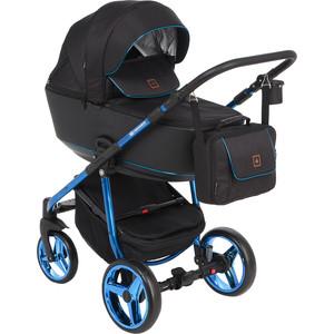 Коляска 2 в 1 Adamex BARCELONA Special Edition кожа черная+синий BR-411 GL001027386