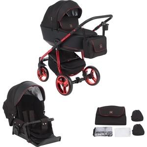 Коляска 2 в 1 Adamex BARCELONA Special Edition кожа черная+черный жаккард+красный BR-600 GL001039441