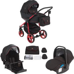 Коляска 3 в 1 Adamex BARCELONA Special Edition кожа черная+черный жаккард+красный BR-600 GL001035946