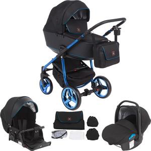 Коляска 3 в 1 Adamex BARCELONA Special Edition кожа черная+черный жаккард+синий BR-620 GL001035943