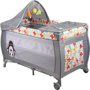 Манеж кровать Capella S10-7 2е дно св.серый пингвинята GL000731511 цена