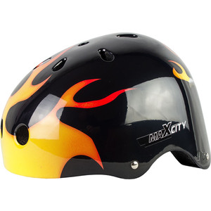 Шлем детский MaxCity GRAFFITY FLAME MC - PH000093 - Черный (S) шлем детский rexco 3d цыпленок янни s 48 52 желтый