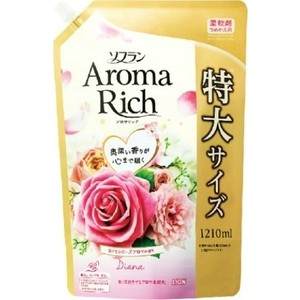 Кондиционер для белья Lion Aroma Rich Diana с натуральными маслами розы, персика, малины, ванили, мягкая упаковка 1210 мл