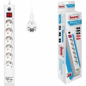 Сетевой фильтр Buro BU-SP1.8_USB_2A-W 1.8м (6 розеток) белый