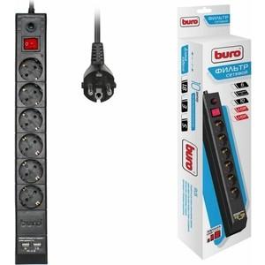 Сетевой фильтр Buro BU-SP3_USB_2A-B 3м (6 розеток) черный