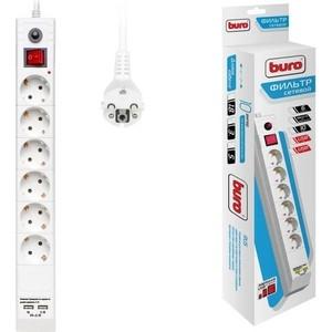 Сетевой фильтр Buro BU-SP3_USB_2A-W 3м (6 розеток) белый