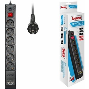 Сетевой фильтр Buro BU-SP5_USB_2A-B 5м (6 розеток) черный