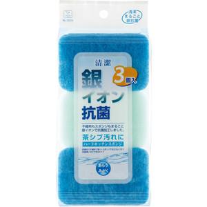Губка Kokubo для кухни с йонами серебра, антибактериальные, жесткая, 250х115х35 мм, 3 шт