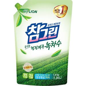 Средство для мытья посуды и фруктов Lion CHAMGREEN Зеленый чай, мягкая упаковка 1,34 л