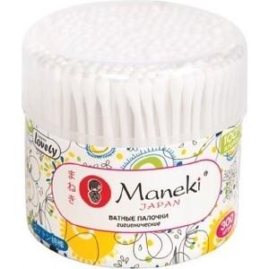 Ватные палочки MANEKI Lovely гигиенические, с белым стиком, в пластиковом стаканчике 300 шт