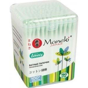 Ватные палочки MANEKI Lovely гигиенические, с зеленым стиком, в пластиковой коробке 150 шт