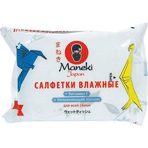 Влажные салфетки MANEKI Kaiteki для всей семьи с витамином Е и увлажняющим лосьоном 25 шт гигиена для мамы maneki kaiteki салфетки влажные для интимной гигиены 20 шт