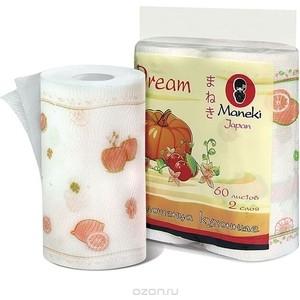 Полотенца бумажные MANEKI Dream для кухни белые с рисунком 2 рулона