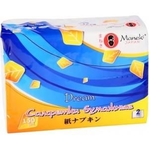 Салфетки бумажные MANEKI Dream белые 2 слоя 150 шт