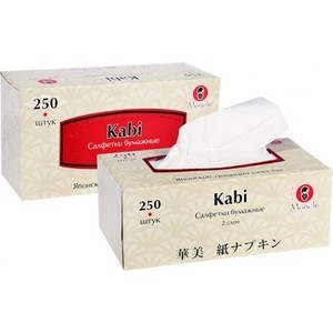Салфетки бумажные MANEKI Kabi белые 2 слоя 250 шт