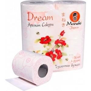Туалетная бумага MANEKI Dream с ароматом сакуры 3 слоя 4 рулона