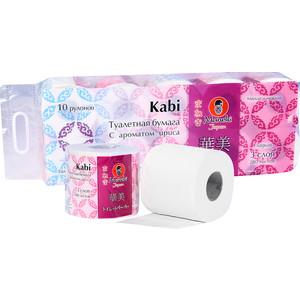 Туалетная бумага MANEKI Kabi белая с ароматом ириса 3 слоя 10
