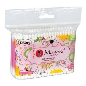 Ватные палочки MANEKI Lovely гигиенические, с розовым стиком, в zip - пакете 200 шт
