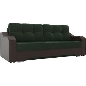 Прямой диван АртМебель Браун велюр зеленый, экокожа коричневый