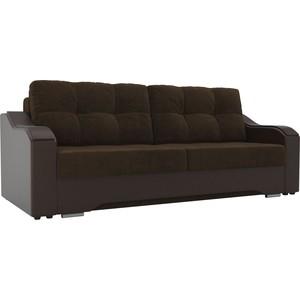 Прямой диван АртМебель Браун велюр коричневый, экокожа коричневый
