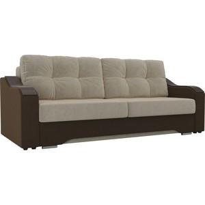 Прямой диван АртМебель Браун микровельвет бежевый/коричневый