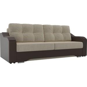 Прямой диван АртМебель Браун микровельвет бежевый, экокожа коричневый