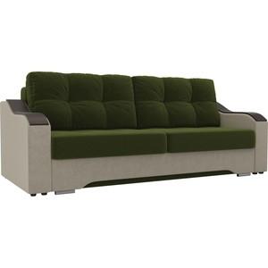 Прямой диван АртМебель Браун микровельвет зеленый/бежевый
