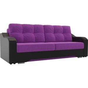 Прямой диван АртМебель Браун микровельвет фиолетовый, экокожа черный