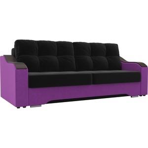 Прямой диван АртМебель Браун микровельвет черный/фиолетовый