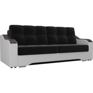 Прямой диван АртМебель Браун микровельвет черный, экокожа белый