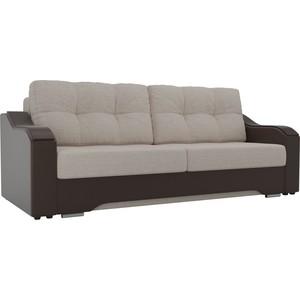 Прямой диван АртМебель Браун рогожка бежевый, экокожа коричневый