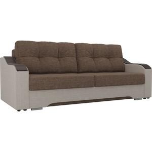 Прямой диван АртМебель Браун рогожка коричневы/бежевый
