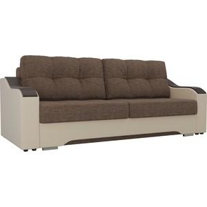 Прямой диван АртМебель Браун рогожка корчневый, экокожа бежевый