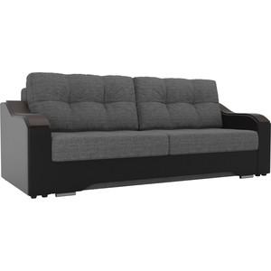 Прямой диван АртМебель Браун рогожка серый, экокожа черный