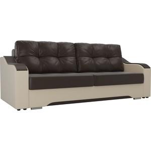 Прямой диван АртМебель Браун экокожа коричневый/бежевый