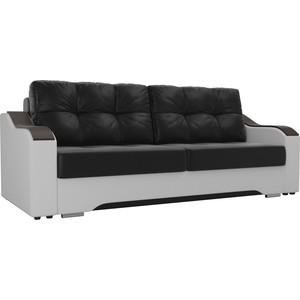 Прямой диван АртМебель Браун экокожа черный/белый