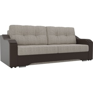 Прямой диван АртМебель Браун корфу 02, экокожа коричневый