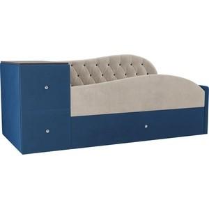 Детская кровать АртМебель Джуниор велюр бежевый/синий правый угол
