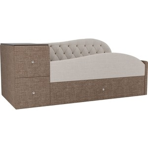 Детская кровать АртМебель Джуниор рогожка бежевый/коричневый правый угол фото