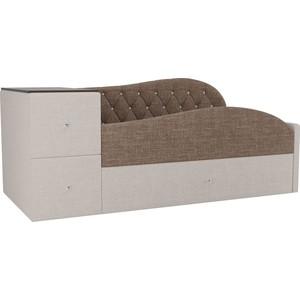 Детская кровать АртМебель Джуниор рогожка коричневый/бежевый правый угол