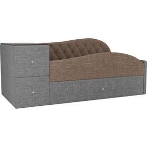 Детская кровать АртМебель Джуниор рогожка коричневый/серый правый угол