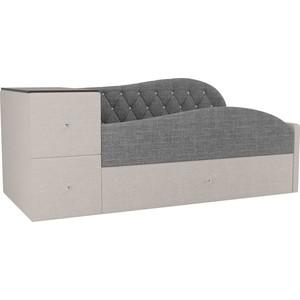 Детская кровать АртМебель Джуниор рогожка серый/бежевый правый угол