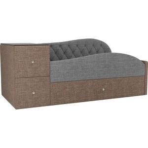 Детская кровать АртМебель Джуниор рогожка серый/коричневый правый угол детская кровать артмебель дельта рогожка коричневый серый правый угол